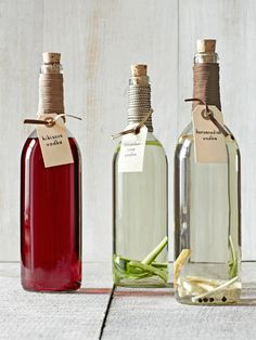 Homemade Food Gifts -If you really want to boost someone's holiday spirits, steep vodka with tangy hibiscus, refreshing cucumber and lime, or zesty horseradish. Decant your handiwork in beautiful bottles that cost about a buck apiece!     Read more: Homemade Food Gifts - Edible Christmas Food Gift Ideas - Country Living