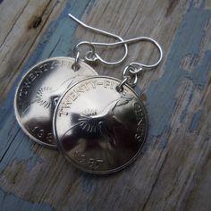 Bermuda Longtail Bird Quarter Coin Earrings
