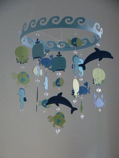 We could probably make it - Baby Mobile Ocean Creature Sea Baby Mobile CUSTOMIZE your colors! Ocean Themed Nursery, Whale Nursery, Nautical Nursery, Nautical Baby, Nursery Themes, Nautical Dresser, Nursery Art, Nursery Ideas, Paper Mobile