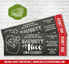 Printable Santa Naughty or Nice Holiday Party Chalkboard Ticket Invitation | Cocktails Party | Adult Christmas Party | Gift Exchange Party | Matching Party Decorations Available! Banner, Food Labels, Favor Tag, Drink Label, Signs, Straw Flags | www.dazzleexpressions.com