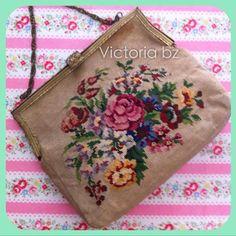 Vintage Floral Petit point needlepoint Handbag