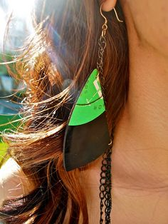 Earring made from an old record