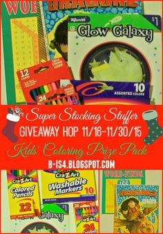Kids' Coloring Prize Pack giveaway 11/16-11/30/15 part of the Super Stocking Stuffer Giveaway Hop. Fill a child's stocking this year with these fun coloring and art tools.