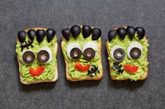 Avocado toast look like as green monster for Halloween Cute Halloween, Holidays Halloween, Avocado Toast, Sushi, Sandwiches, Stock Photos, Meals, Breakfast, Ethnic Recipes