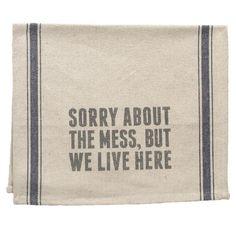 We Live Here Tea Towel