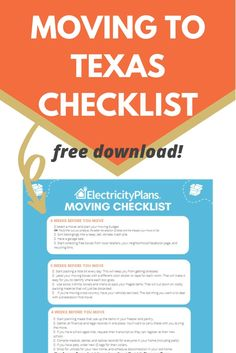 Moving to Texas? Moving to Houston? Moving to Dallas? Moving to Fort Worth? Don't move without this Moving to Texas Checklist. It includes 2 items that are unique to Texas, one that you need to do before you move. Moving To Dallas, Moving To Texas, Moving Checklist, Moving Tips, Texas Vehicle Registration, Best Places To Move, Electrical Plan, Pre Paid, Hubby Love
