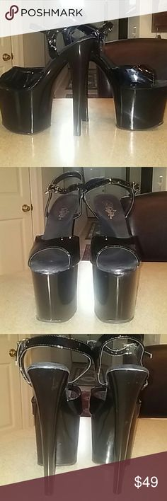 """7.75"""" Pleaser Platform Stelletoes Black open toe Pleaser Platform stelletoes with a 7.75"""" heel and 4"""" platform with ankle strap. In good used condition minor marks on platform and toe area hardly noticeable. Perfect for pole dancing or the night out on the town. Pleaser Shoes Platforms"""