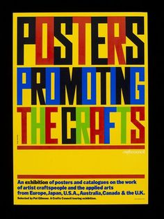Poster by David King entitled 'Posters Promoting the Crafts', advertising a Crafts Council touring exhibition. King David, Exhibition Poster, Graphic Designers, Touring, Projects To Try, Japan, Artist, Crafts, Manualidades