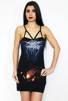 Darkthrone shirt - Arctic Thunder Strappy Tunic Dress Yonder and forlorn lies the arctic thunder. Beneath the astral fires, again the moon expires.  Feel the blast of the Arctic Thunder! The pioneers of Black Metal have returned! You can never have too many Black Metal band shirts and this one is a definite MUST! As black as your little heart, the strappy design will make you look and feel deliciously evil. Sexy is an understatement! With looks to kill, youll be a black metal queen colder…