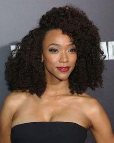 "Hair goalsss! Sonequa Martin-Green, also known as ""Sasha"" on #TheWalkingDead #NaturalHair"