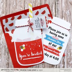 Backyard Party invite with matching envelope. DIY jar invitations using digital scrapbook supplies