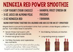 Ningxia Red Power Smoothie Young Living http://yldist.com/pureandsimpleheroes/ningxia-red/
