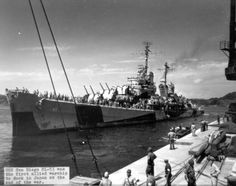Cruiser USS San Diego at Yokosuka Naval Base, Japan, 30 Aug 1945, the first Allied warship to dock in Japan at the end of WWII. (US Navy photo)
