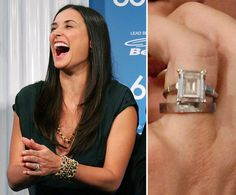 Demi Moore: Demi Moore and Ashton Kutcher continually denied engagement rumors until they surprised friends and family with a secret wedding ceremony in September 2005. The five-carat emerald-cut diamond is rumored to be worth an estimated $250,000.