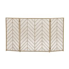 The DecMode Home and Hearth Brass Tin Arrow Fireplace Screen sports a dynamic chevron pattern that will look glamorous whether there is a fire or not. Contemporary Fireplace Screens, Decorative Fireplace Screens, Metal Fireplace, Fireplace Cover, Gold Fireplace Screen, Fireplace Design, Fireplace Guard, Fireplace Drawing, Craftsman Fireplace