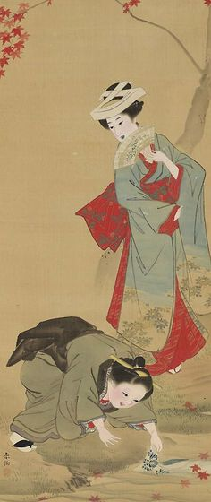 Maple Leaf hunters. Main detail of a hanging scroll; ink and color on silk, early 19th century, Kyoto, Japan by artist Yamaguchi Soken. MFA