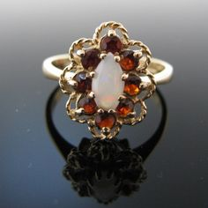 #Garnet and #Opal #Ring #9k #Gold #Jewelry #The #Antiques #Room #Galway #Ireland Gold Jewelry, Jewelry Box, Jewelery, Vintage Jewelry, Opal Rings, Diamond Rings, Diamond Engagement Rings, Galway Ireland, Music Boxes