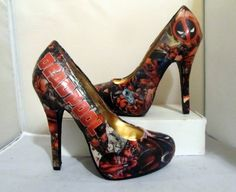 Deadpool Comic Book High Heels - Made to Order by custombykylee on Etsy.com
