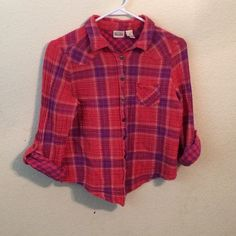 Plaid button up Pink and purple button up shirt, mint condition only worn once, size medium Mudd Tops Button Down Shirts