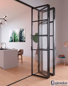 Glasalux Raw - Vikpartier / Folding steel doors / Industrifönater Partition Door, Room Divider Doors, Room Doors, Steel Frame Doors, Steel Doors And Windows, Estilo Interior, Black Interior Doors, Home Door Design, Deco Design