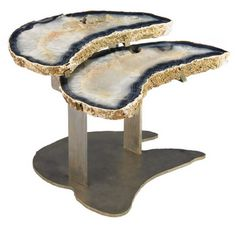 Agate and Bronze Geode table by Brenda Houston.