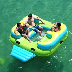 Inflatable Floating Island, Floating Lounge, Floating In Water, Party Raft, Lake Rafts, Lake Floats, Cool Pool Floats, Green With Blue, Blue Yellow