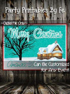 Printable Christmas Party Invitation or Card~ Cabin Merry Christmas Card ~ I56