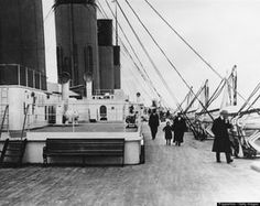 "Rare Titanic Photos The second-class promenade on the boat deck of the White Star ocean liner ""RMS Titanic,"" 1912."