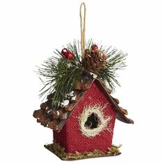 my xmas style 2013 burlap birdhouse ornament correction sue rabe not jan ward several - Bird House Christmas Decoration