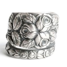 Victorian Rose Ring, Flower Spoon Ring Sterling Silver, 1905 Baltimore Rose, Rosebud Floral Ring, Chunky Ring, Adjustable Ring Size (6050)