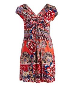 Love this Red & Pink Floral Arabesque Sleeveless Twist-Front Tunic Dress - Women & Plus on #zulily! #zulilyfinds