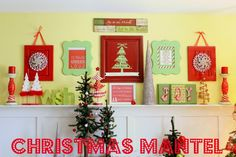 I made about 75% of the items that are being used on the mantel. The rest of them {the Christmas trees} were all bought after Christmas for 50% -90% off.