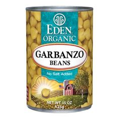 Garbanzo Beans (Chick Peas), Organic 15 oz. BPA free lined can. #EdenFoods