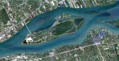 Detroit's Belle Isle, home of the Grand Prix. Detroit Map, Detroit Michigan, Windsor Ontario, Aerial Photography, Grand Prix, Geography, Maps, River, Mountains