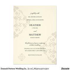 Damask Pattern Wedding Invitation