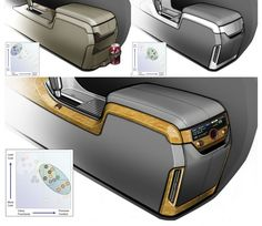 Automotive Interior by Mike Jou at Coroflot.com Bus Interior, Custom Car Interior, Car Interior Design, Interior Concept, Custom Center Console, Car Audio Installation, Custom Consoles, Car Console, Automotive Upholstery