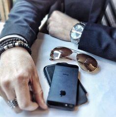 #MenStyle #Tie #Suit #Bracelet #Sunglasses #Watch #Ring