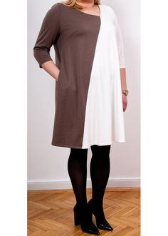 Dress Marta Cappucino & White - Plus Size, 40$/EUR + shipping cost