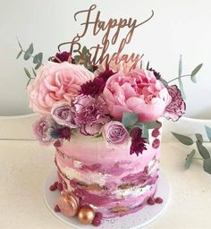 big wedding cakes Kuchen - bestlooks - Happy Birthday - The Effective Pictures We Offer You About chocolate Birthday Cake A quality picture can tel Happy Birthday Wishes Cake, Birthday Wishes Flowers, Birthday Cake With Flowers, Beautiful Birthday Cakes, Happy Birthday Images, Birthday Greetings, Cake Birthday, Happy Birthday Cakes For Women, Flower Birthday