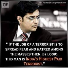 TV was synonymous with and now is the terrorist. The biggest threat to the HINDU and the country at large is Republic TV then! Funny Political Images, Political Cartoons, Dark Humour Memes, Humor, Arnab Goswami, Meaningful Pictures, Funny Memes, Jokes, Butterfly Photos