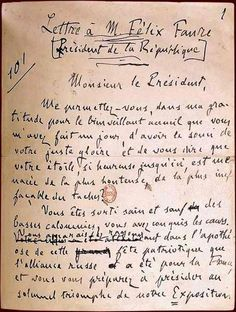 J'accuse...!  Emile Zola's 1898 letter printed on the front page of L'Aurore according the French government of anti-Semitism in the spy case of army officer Alfred Dreyfus.