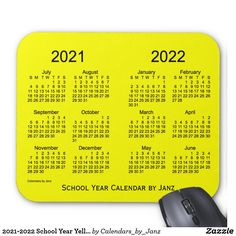 2021-2022 School Year Yellow Calendar by Janz Mouse Pad