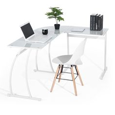Triangle Corner Computers Desks Glass// Metal// Wooden L-Shape Office PC Tables UK