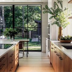 A New Jersey Neighborhood Gets a Gorgeous Passive House Mowery Marsh Architects Farmhouse Style Kitchen, Modern Farmhouse Kitchens, Küchen Design, Home Design, Design Ideas, Style At Home, Passive House, Kitchen Models, Wooden Cabinets