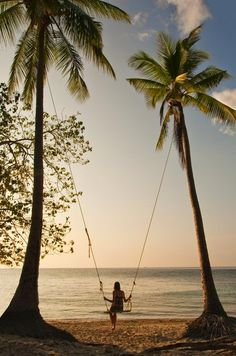 Girl on a swing between two palm trees at the beach