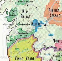 Detail of De Long's Wine Map of Spain - Albarino wine country, Rias Biaxas, and Ribiero Sacra in Spain and Vinho Verde in Portugal. Wine Tasting Near Me, Wine Tasting Events, Boot Camp, Map Of Spain, Wine Coolers Drinks, Sangria Wine, Spanish Wine, In Vino Veritas, Wine And Beer