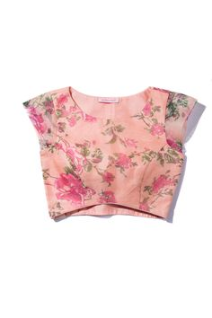 The Peach Project-Floral Organza Blouse Simple Blouse Designs, Stylish Blouse Design, Saree Blouse Neck Designs, Choli Designs, Blouse Models, Indian Wear, Indian Blouse, Peach, Saree Floral