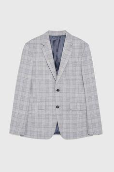 Image  de VESTE DE COSTUME À CARREAUX de Zara Pantalon Costume, Plaid Suit, Zara Man, Blazers For Men, Suit Jacket, Long Sleeve, Jackets, Fashion, Gray