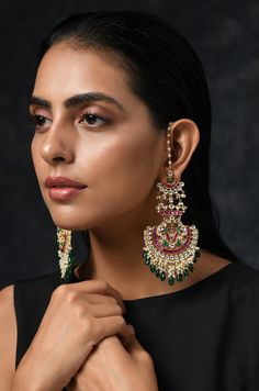 Ridhi Gold Tone Kundan With Pink And Green Stone Earrings – Paisley Pop Shop Indian Jewelry Earrings, Fancy Jewellery, Ear Jewelry, Wedding Jewelry, Diamond Jewellery, Wedding Accessories, India Jewelry, Wedding Hair, Bridal Hair