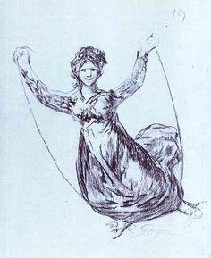 Bruja Volando con una cuerda / Witch flying with a rope  - Francisco de Goya